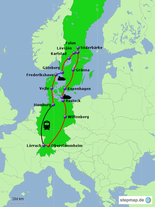 Roadtrip Skandinavien von nilocm - Landkarte fu00fcr Europa