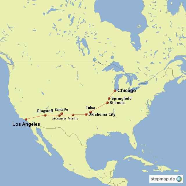 route 66 von amerika landkarte f r die usa. Black Bedroom Furniture Sets. Home Design Ideas