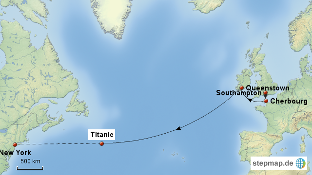 Titanic Route for Pint...
