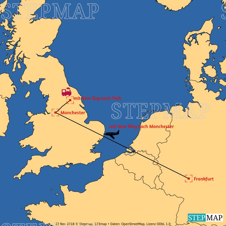 Landkarte: Route FFM York