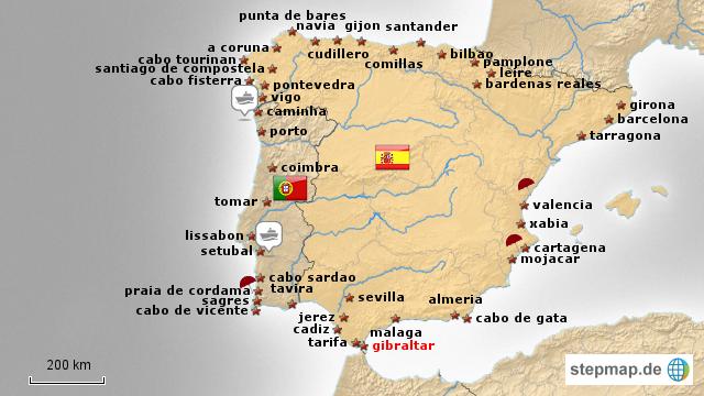 karte portugal spanien StepMap   route spanien   portugal   spanien   Landkarte für Spanien karte portugal spanien