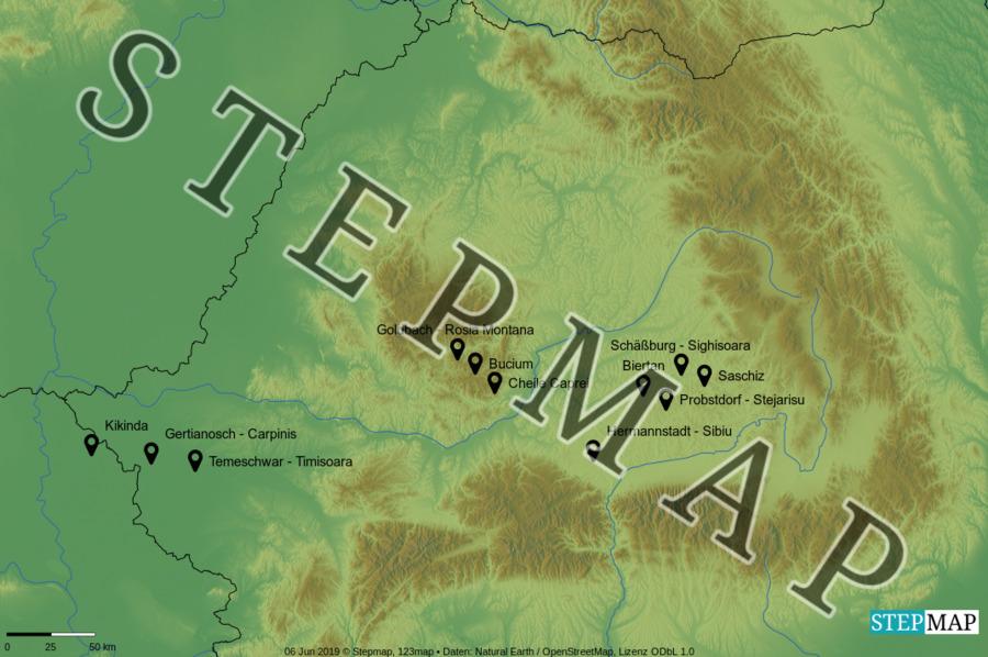 Landkarte: Rumänien 2019