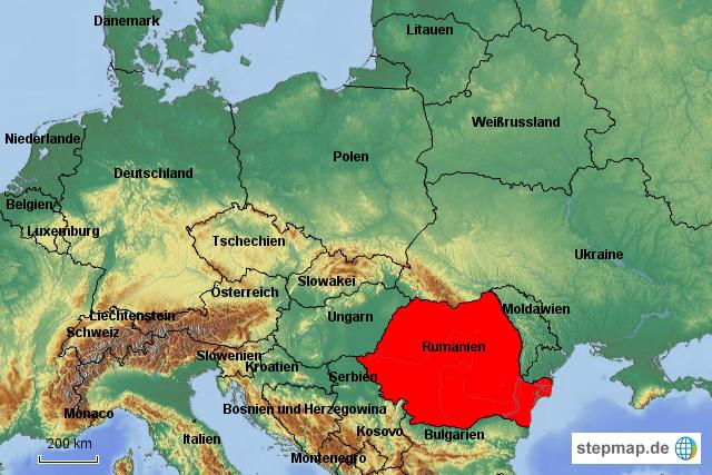 Rumänien rot in Europakarte von Radelnde - Landkarte für ...