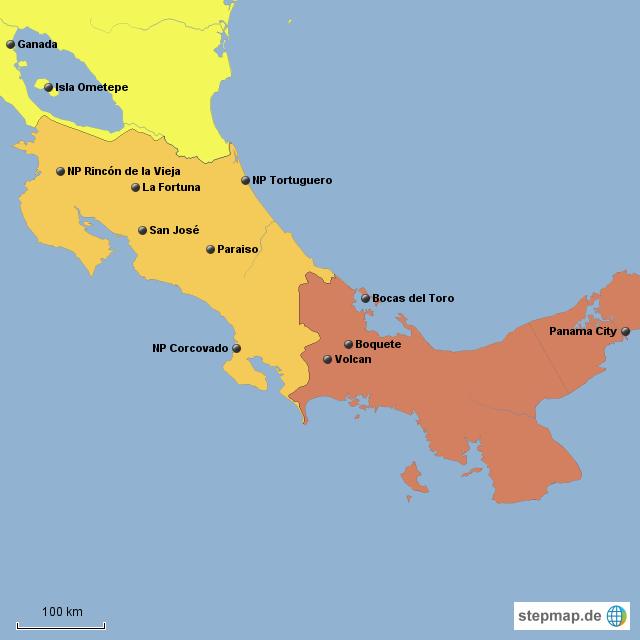 rundreise costa rica nicaragua panama von mobotti landkarte f r mittelamerika. Black Bedroom Furniture Sets. Home Design Ideas