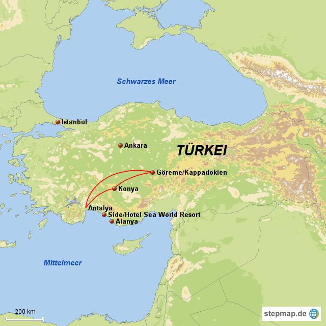 Türkische Riviera Karte.Rundreise Kappadokien Türkische Riviera Von Otto Reisen