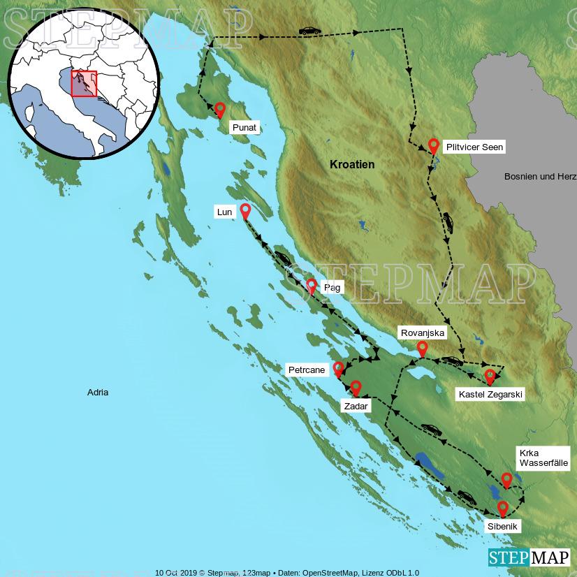 Landkarte: Rundreise Kroatien 13.-22.September 2019