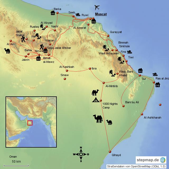 Karte Oman Kostenlos.Rundreise Oman Komplett Von Vossybaer Landkarte Fur Den Oman