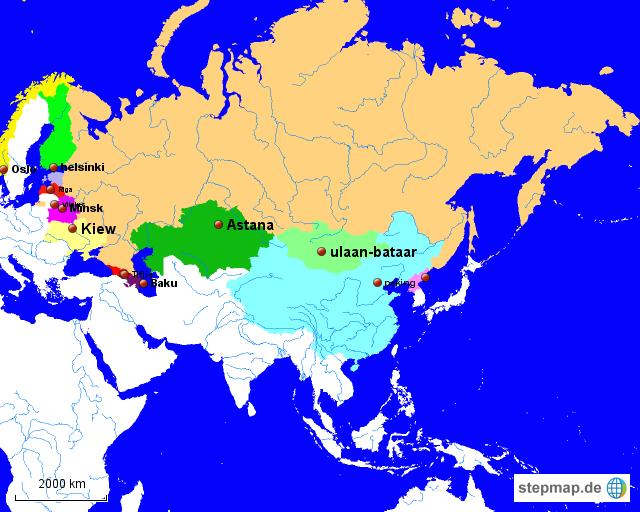 Russland und Nachbarländer von Lukas Notti98   Landkarte für Russland
