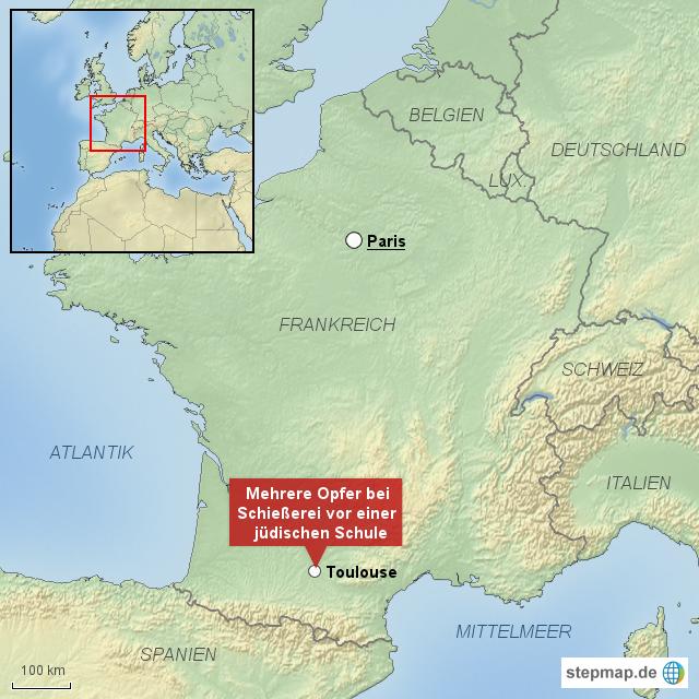 landkarte frankreich toulouse Schießerei vor jüdischer Schule in Toulouse von rponline