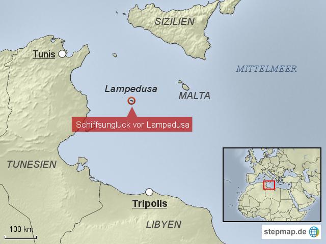 Italien Karte Lampedusa.Schiffsungluck Vor Lampedusa Von Krone Landkarte Fur Italien