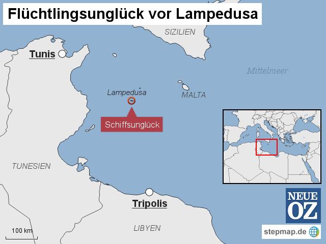 Italien Karte Lampedusa.Schiffsungluck Vor Lampedusa Von Neueoz Landkarte Fur Italien
