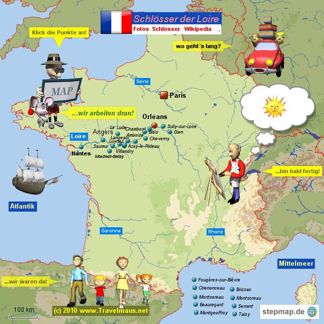 landkarte loiretal frankreich Schlösser der Loire von Travelmaus   Landkarte für Frankreich