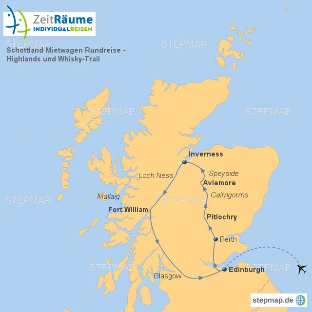 Schottland Mietwagen Rundreise Highlands Und Whisky Trail Von Zeitraeume Landkarte Für Das Vereinigtes Königreich
