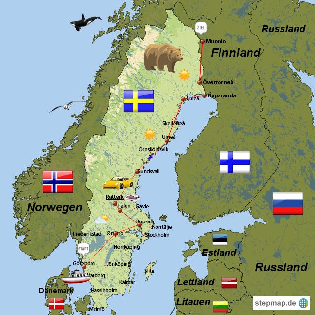 Schweden Bilder schweden reisemausi landkarte für schweden