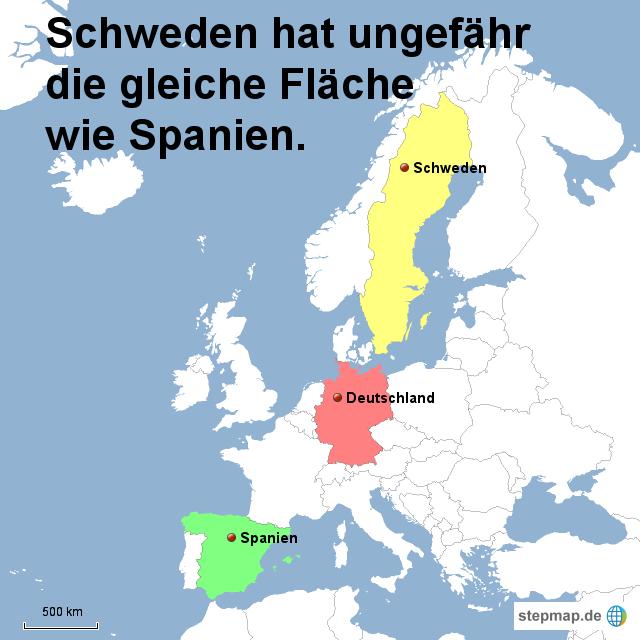 schweden hat ungefähr die gleiche fläche wie spanien von