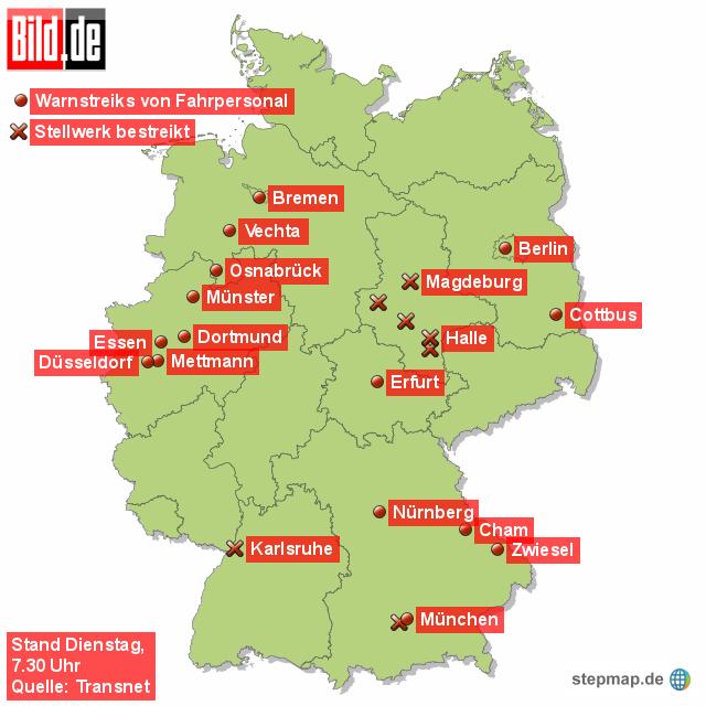 schwerpunkte im bahn streik von redaktion landkarte f r deutschland alle bundesl nder. Black Bedroom Furniture Sets. Home Design Ideas