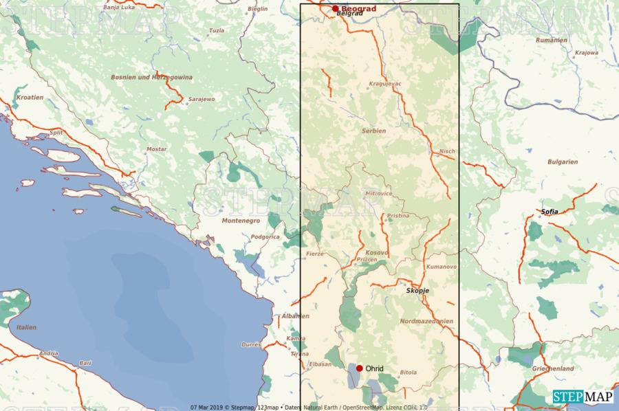 Landkarte: Serbien/Albanien Strassen - Kopie