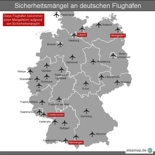 Flughäfen Deutschland Karte.Sicherheitsmängel An Deutschen Flughäfen Von Nzz Landkarte Für