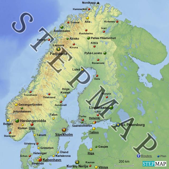 skandinavien von awefra landkarte f r skandinavien. Black Bedroom Furniture Sets. Home Design Ideas