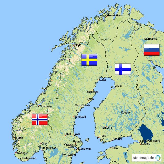 Skandinavien Von Huri11 Landkarte Für Norwegen