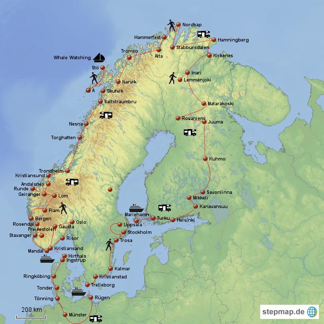 Skandinavien Karte Pdf.Skandinavien Tour 2012 Von Cbisio Landkarte Fur Skandinavien