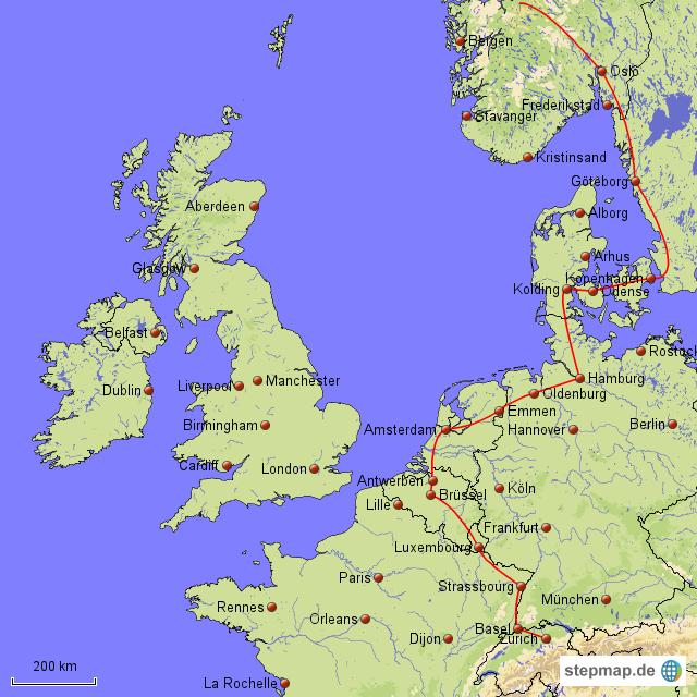 skandinavien trip karte von esra landkarte f r nordwesteuropa. Black Bedroom Furniture Sets. Home Design Ideas