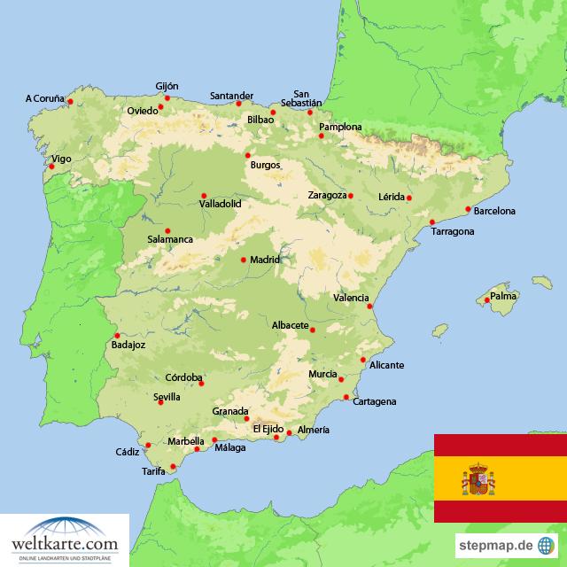spanien weltkarte Spanien von weltkarte   Landkarte für Spanien spanien weltkarte