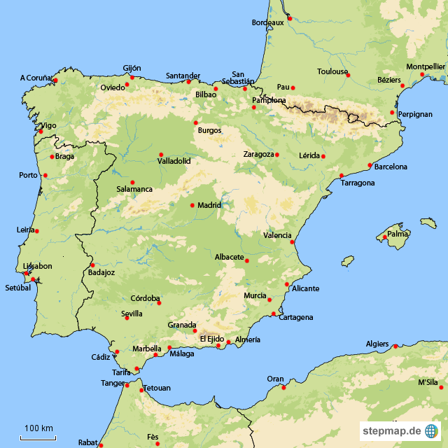 Spanien Karte Regionen.Stepmap Spanien Landkarte Fur Spanien