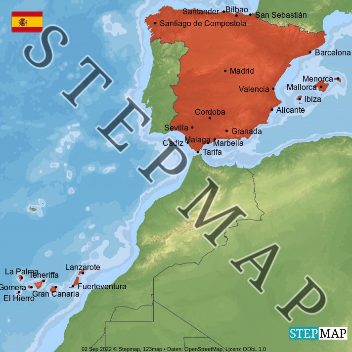 Landkarte: Spanien
