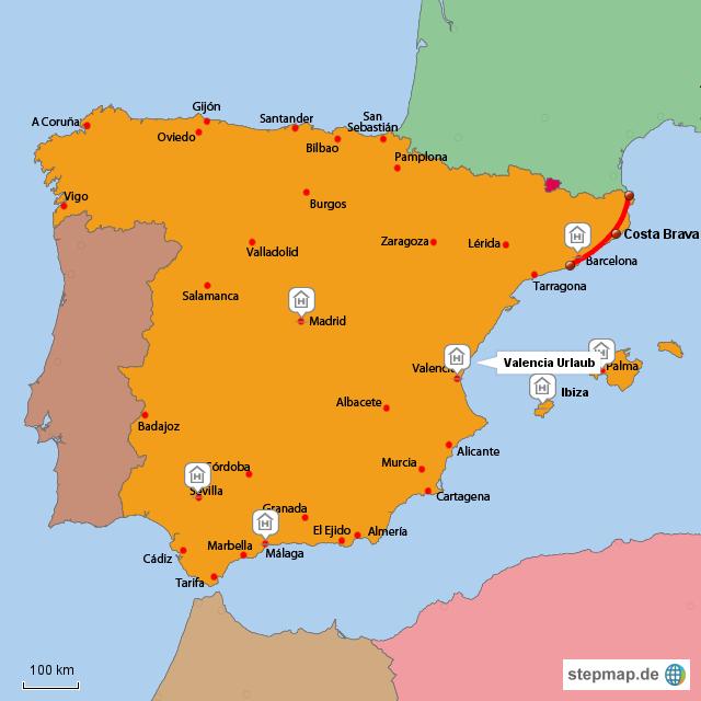 spanien reiseziele von tschense landkarte f r spanien. Black Bedroom Furniture Sets. Home Design Ideas