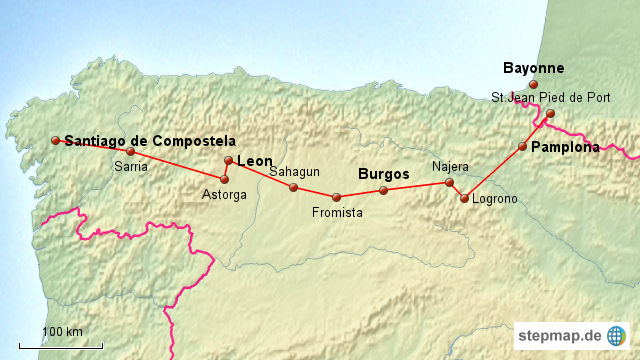 Jakobsweg Spanien Karte.Spanischer Jakobsweg Karte Kleve Landkarte