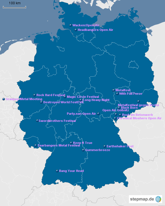 festival karte deutschland Sprengie besuchte folgende Festivals von Sprengie   Landkarte für