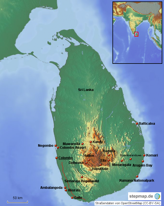 Sri Lanka Von Juni Landkarte Für Sri Lanka