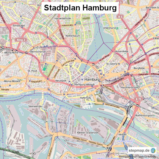 stadtplan hamburg von stadtplan landkarte f r deutschland. Black Bedroom Furniture Sets. Home Design Ideas