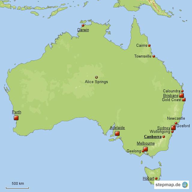 landkarte von australien mit st dten deutschland karte. Black Bedroom Furniture Sets. Home Design Ideas
