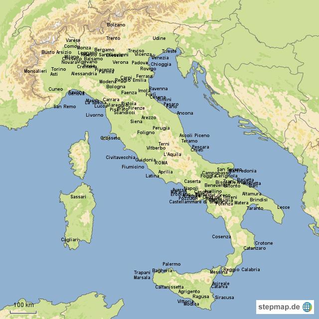 italien karte mit städten Karte Von Italien Mit Städten | Kleve Landkarte