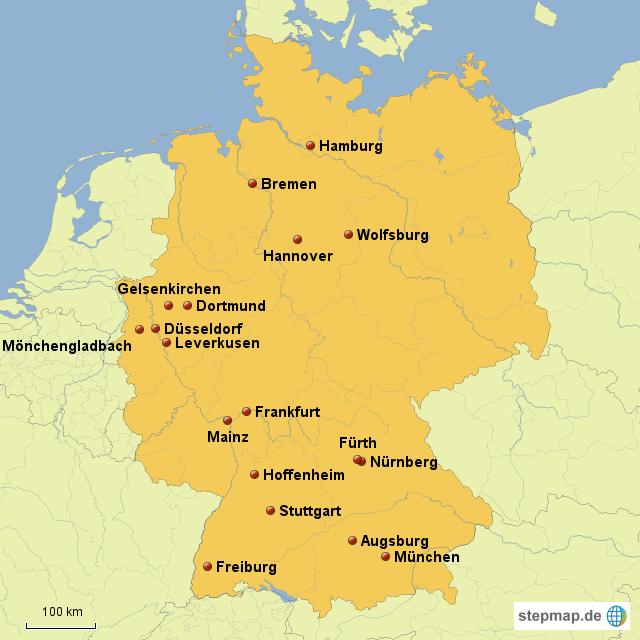 st dte mit mannschaften der 1 fu ball bundesliga von rsmak01 landkarte f r deutschland. Black Bedroom Furniture Sets. Home Design Ideas