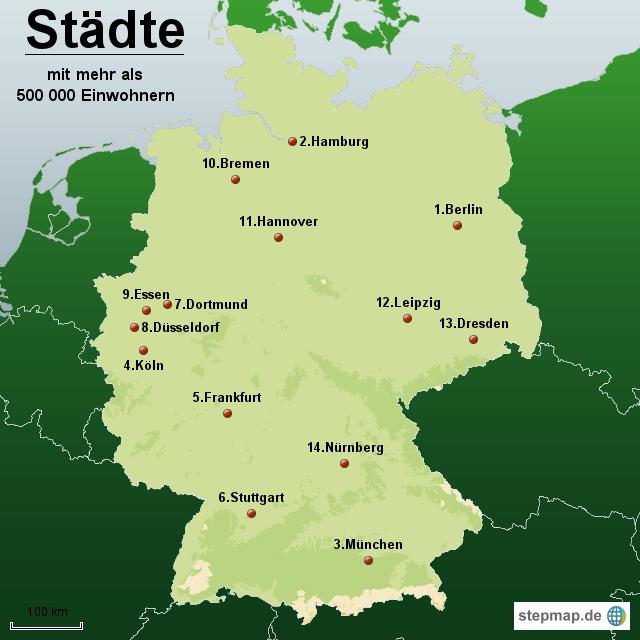 st dte mit mehr als 500 000 einwohnern von karten landkarte f r deutschland. Black Bedroom Furniture Sets. Home Design Ideas