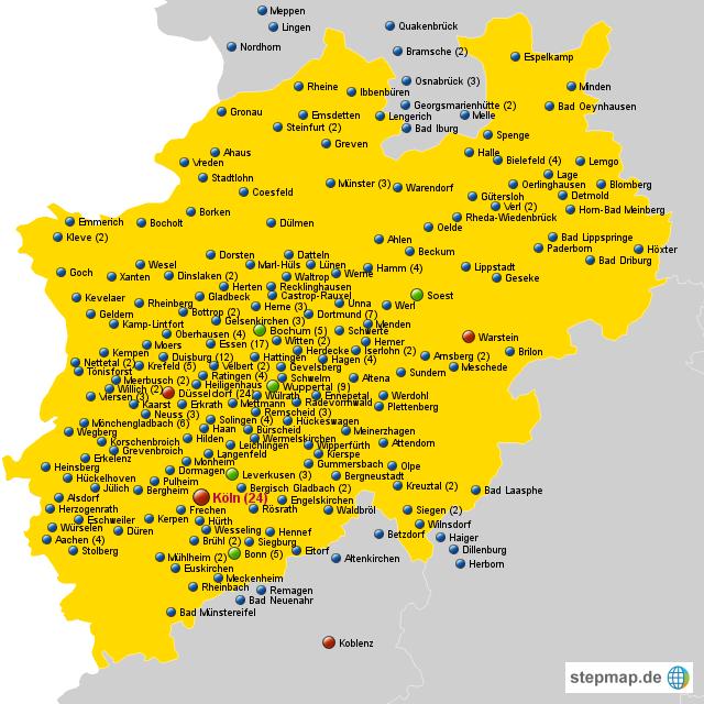 Nordrhein Westfalen Karte.Stadte Nrw Von Morlanta Landkarte Fur Nordrhein Westfalen