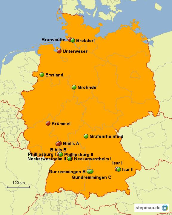 Standorte Der Atomkraftwerke In Deutschland Von Lilapause