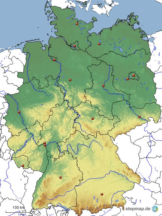 deutschland karte physisch StepMap   stumme Karte Deutschland physisch (Bundesländer und