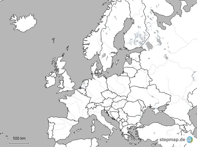 stumme karte europa StepMap   stumme Karte Europa weiß 2   Landkarte für Deutschland