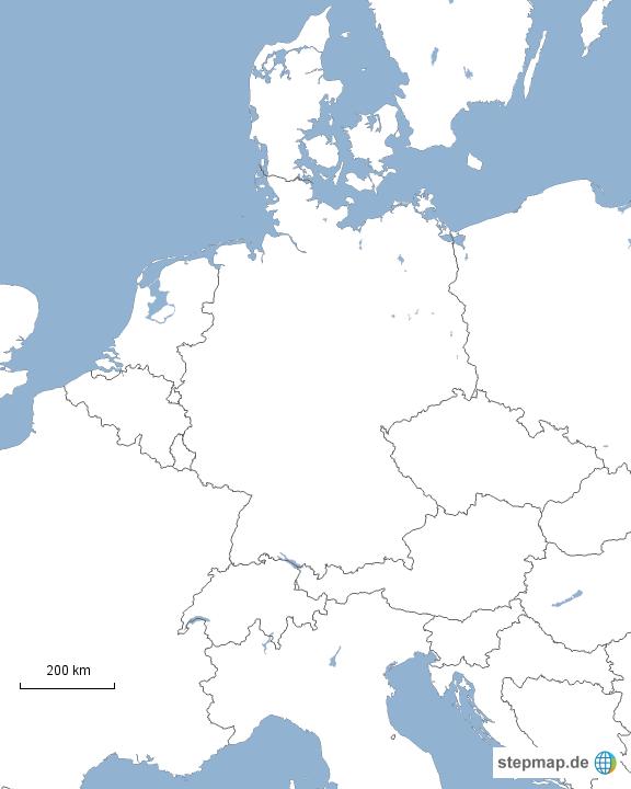karte mitteleuropa StepMap   stumme Karte   Mitteleuropa   Landkarte für Deutschland