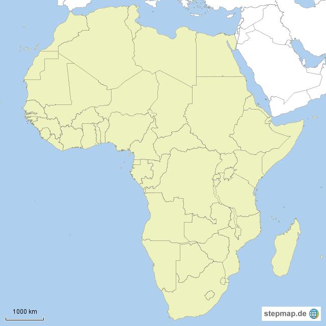 Stumme Karte Afrika von danischwab - Landkarte für Afrika AFRIKA KARTE