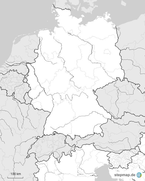 Stumme Karte Deutschland Nachbarländer Flüsse Von Julia279