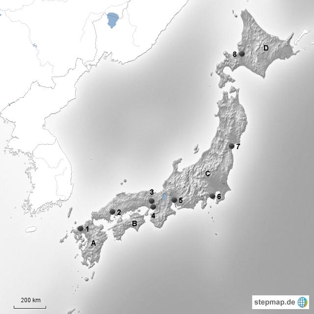 Welt Europa Deutschland Karten Stumme Karte Japan