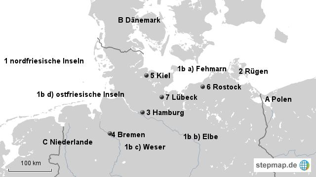 Karte Norddeutschland Inseln.Stepmap Stumme Karte Norddeutschland2 Ml Landkarte Für Deutschland