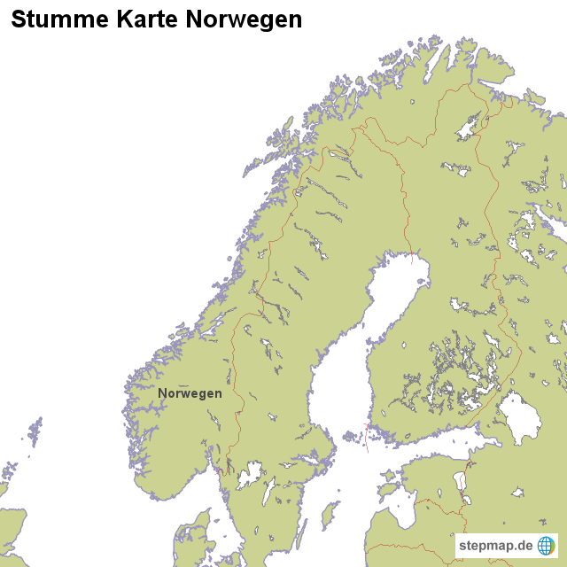 Stumme Karte Norwegen von - Landkarte für Norwegen WELTKARTE NORWEGEN