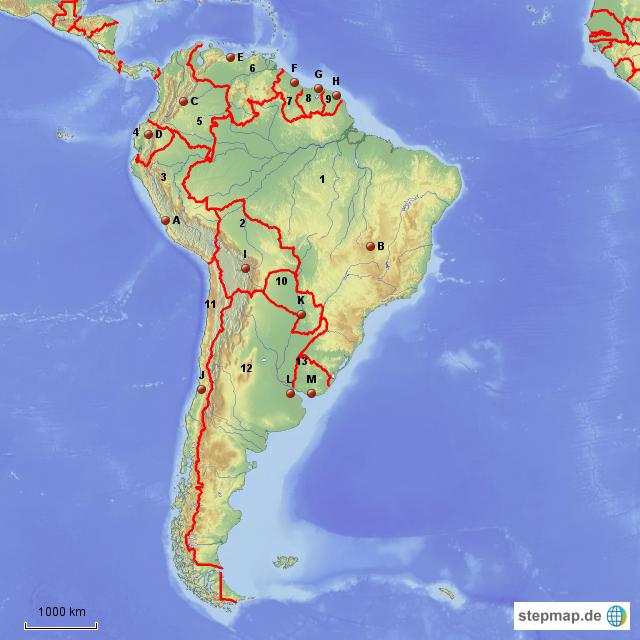 Physische Karte Lateinamerika.Stumme Karte Sudamerika Von Becksen Landkarte Fur Sudamerika