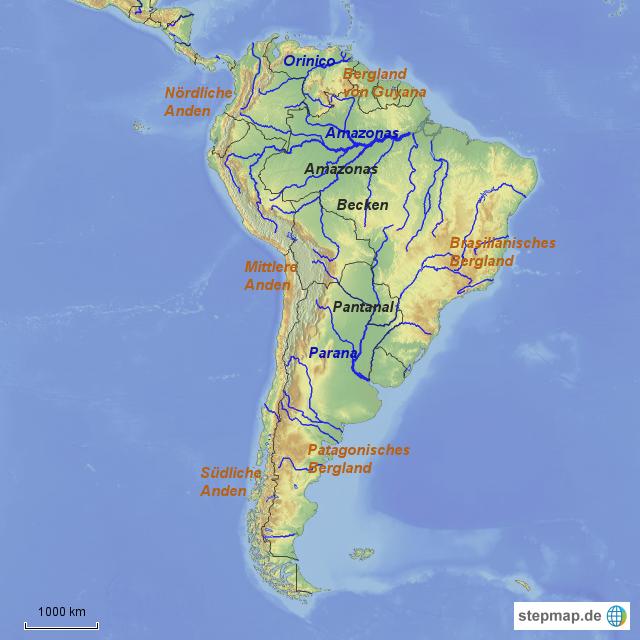 Sudamaerika Berge Und Flusse Von Kleifges Landkarte Fur Sudamerika